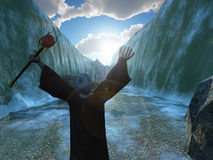 Moses parting the Red Sea vector illustration