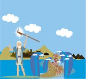 Moses parting the red sea Royalty Free Stock Image