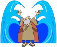 Moses Parting The Waters. This illustration depicts Moses with his arms outstretched parting the waters Stock Photo