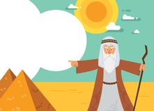 Moses from Passover story and Egypt pyramid landscape. vector illustration card. Moses from Passover story and Egypt pyramid landscape. vector illustration Stock Photo