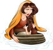 Moses Placed In Water By Zijn Moeder Stock Afbeeldingen