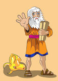 Moses and Precept stones. Moses holds in a hand stones with 10 precepts and forbids to approach to the head of a golden calf Royalty Free Stock Images