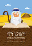 Moses reading Passover Haggadah on Egypt background Stock Photography