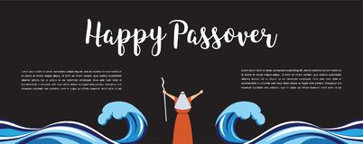 Moses separate sea for passover holiday over nigt background, flat design vector. Moses separate sea for passover holiday over nigt background, flat design Royalty Free Stock Photo