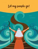 Moses splitting the red sea and ordering let my people go out of Egypt. story of Jewish holiday Passover. Vector illustration vector illustration