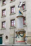 Moses springbrunn, Munsterplatz, Bern Arkivbilder