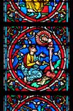 Moses. Stained glass window in the Notre Dame Cathedral, UNESCO World Heritage Site in Paris, France royalty free stock photo