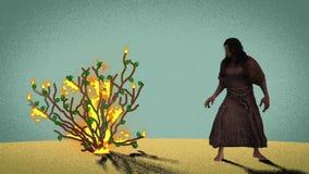 Moses Standing In Front Of la zarza ardiente en el desierto libre illustration