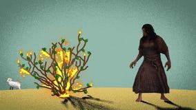 Moses Standing In Front Of la zarza ardiente en el desierto con el cordero en el fondo ilustración del vector
