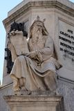 Moses. The Moses statue on the Column of the Immaculate Conception by Ignazio Jacometti on Piazza Mignanelli in Rome, Italy Stock Photography