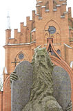 Moses Statue and Kernave church. Moses statue in Kernave Lithuania royalty free stock photo