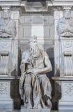 Moses staty i Rome Arkivfoton