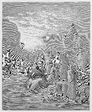 Moses striking the rock in Horeb Stock Images