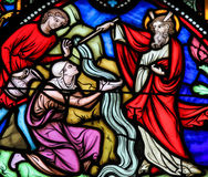 Free Moses Striking Water From The Rock - Stained Glass Royalty Free Stock Image - 82660746