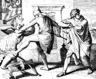 Moses tötet den Ägypter Lizenzfreies Stockfoto