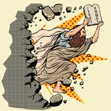 Moses with tablets of the Covenant 10 commandments breaks a wall, destroys stereotypes stock illustration