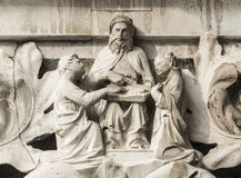 Moses teach the Law of God. Moses teach Israelites the Law of God, ancient medieval relief on Venice Doge Palace column Royalty Free Stock Photos