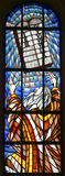 Moses and Ten Commandments. Stained glass church window Stock Photo
