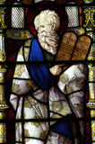 Moses with the Ten Commandments in stained glass Royalty Free Stock Photos