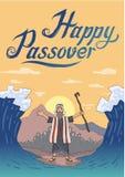 Moses trennt Meer für Passahfestfeiertag über Gebirgshintergrund Exodus, Pesach-Kartendesignschablone mit Beschriftung vektor abbildung