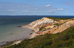 Moshup Beach Cliffs. Panoramic view of clay cliffs on the Atlantic Ocean royalty free stock photography