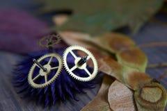 Mosiężny cog toczy, jesień liście na drewnianym tle zdjęcia royalty free