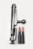 Mosin-Nagant Bolt Action with Shells (2). The bolt action of a restored Russian Mosin-Nagant Rifle, Model M1891/30 with 1054 shells Royalty Free Stock Image