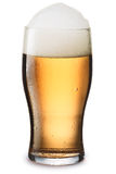 Mosit glass of light beer. Moist glass of cold, still light beer with foam. Separate clipping paths for both glass and shadow, infinite depth of field royalty free stock photo