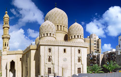 Moské av Abu El Abbas Masjid, Alexandria, Egypten. Royaltyfri Foto