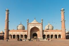 Moské för Jama Masjid, gammala Dehli, Indien Arkivbild