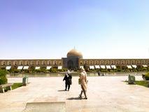 Moské i Esfahan med fyrkanten och springbrunnen Arkivbild