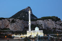 Moské i Gibraltar på skymningen Royaltyfri Fotografi