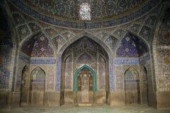 Moské i Isfahan blått Traditionella prydnader och garneringar iran arkivfoto