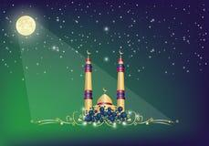 Moské i nattbakgrund Arkivfoto