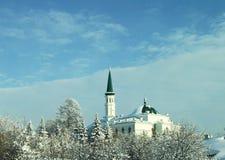 Moské med en grön tornspira i vinterhimlen royaltyfri bild