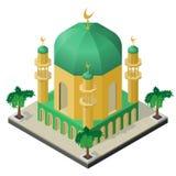Moské med minaret och palmträd i isometrisk sikt stock illustrationer
