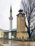 Moské- och klockatorn i Travnik stämma överens områdesområden som Bosnien gemet färgade greyed herzegovina inkluderar viktigt, pl Arkivbild
