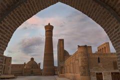 Moské och minaret för Poi Kalon i Bukhara Royaltyfria Foton