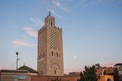 Moské på Jamaa el Fna, Marrakesh, Marocko Arkivbild