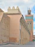 Moskén i medinaen av Marrakech i Marocko Arkivbild