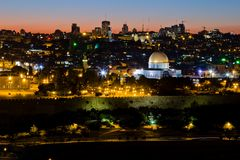Moské av caliphen Omar i Jerusalem. Arkivbilder