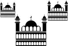 Mosk?minaret och Crescent Moon royaltyfri illustrationer