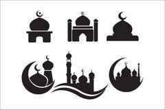 Mosk?symbolsupps?ttning symboler för moskésymbolsvektor stock illustrationer