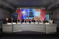 Presse-Konferenz 2013 europäische künstlerische Gymnastik Stockfoto