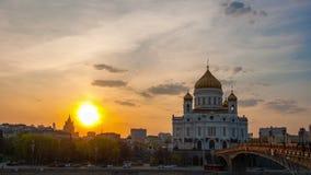 Moskau auf einem Sonnenuntergang, timelapse stock footage