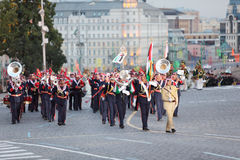 Orchester der bewaffnete Kräfte von Jordanien am Militärmusik-Festival Lizenzfreie Stockfotos