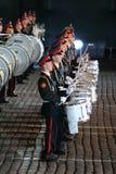 Reihen der Schlagzeuger des Orchesters von Militärmusik-College Moskaus Suvorov Stockfoto