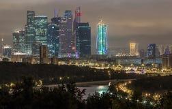 Moskau bis zum Nacht Lizenzfreies Stockfoto