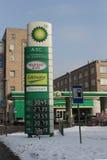 Moskau. Das British-Petroleum, das Station tankt Stockfotos