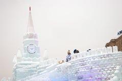Moskau der Kreml gemacht vom Eis Stockbilder